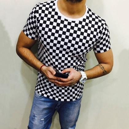 Men Plaid T Shirt O Neck Short Slee..