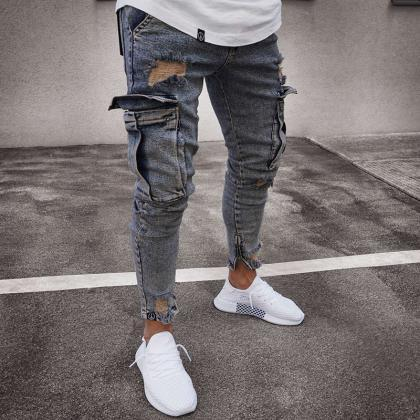 Mens Jeans Mid Waist Distressed Ski..