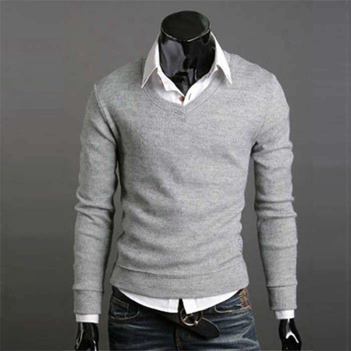 Men Knitwear Sweater Spring Autumn V Neck Long Sleeve Jumpers Casual Slim Pullover Tops