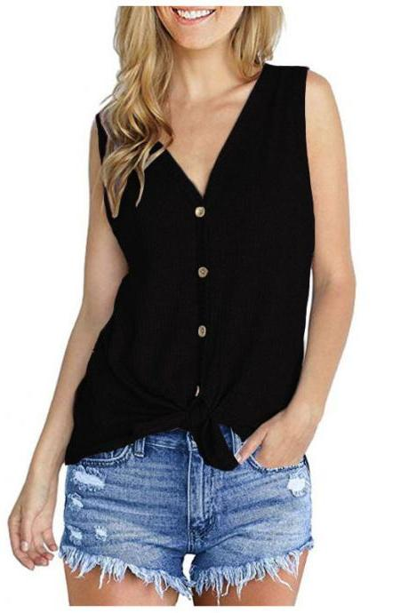 Women Knitted Vest V Neck Buttons Sleeveless Casual Loose Pullovers Cardigan Tops