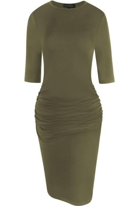 Women Pencil Dress Half Sleeve Casual Pleated Slim Bodycon Work Office Party Dress