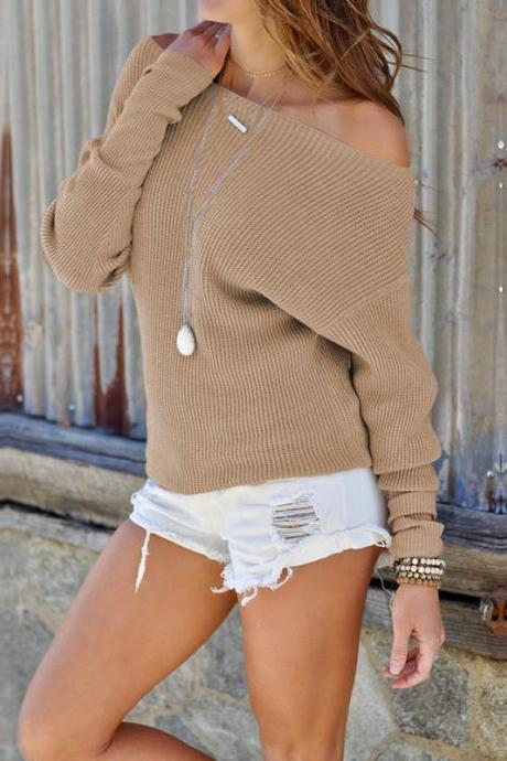 Women Sweater Spring Autumn Off the Shoulder Long Sleeve Casual Slim Pullover Tops