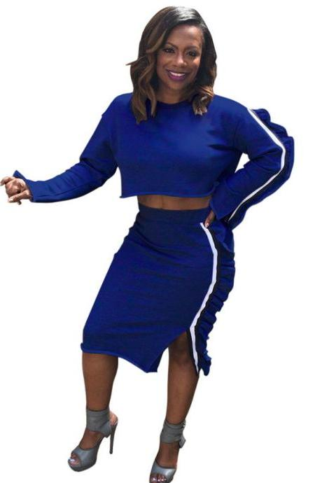 Women Tracksuit Casual Ruffles Long Sleeve Crop Top+Pencil Skirt Two Pieces Set Outfits