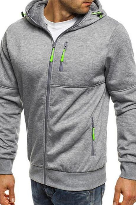 Men Hoodie Coat Spring Autumn Long Sleeve Hooded Zipper Fitness Casual Sweatshirt Jacket
