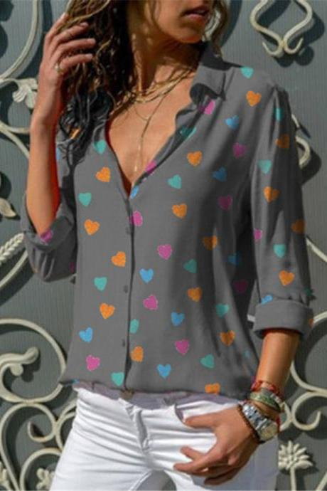 Women Blouse Spring Autumn V Neck Long Sleeve Heart Printed Casual Loose Top Shirt