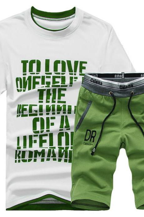 Men Tracksuit Summer Short Sleeve T Shirt+Shorts Casual Fitness Sporting Suit Two Pieces Set
