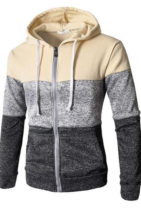Men Hoodies Patchwork Color Long Sleeve Hooded Zipper Casual Slim Cardigan Sweatshirt