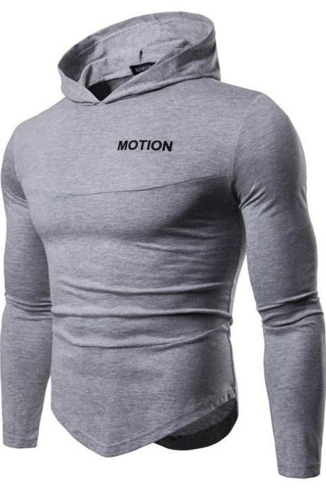 Men Long Sleeve T Shirt Spring Autumn Hooded Hip Hop Casual Streetwear Slim Fit Asymmetrical Tops
