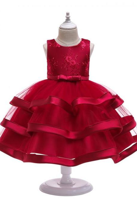 Lace Flower Girl Dress Layered Wedding Formal Perform Princess Party Tutu Gown Children Clothes