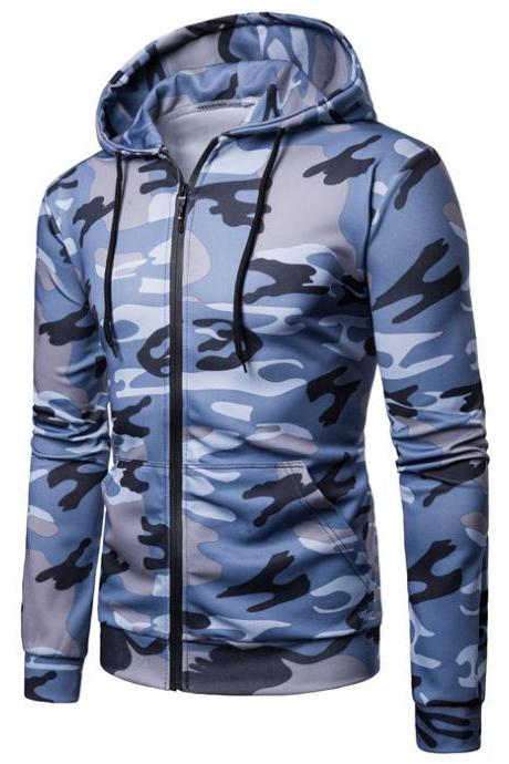 Men Camouflage Coat Spring Autumn Thin Slim Long Sleeve Zipper Hooded Jacket Windbreaker Outwear