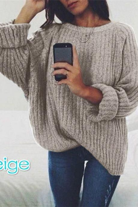 Women Knitted Sweater Autumn Winter Crew Neck Long Sleeve Casual Loose Pullover Tops