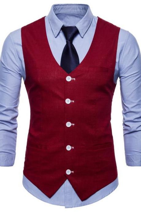 Men Suit Waistcoat V Neck Vest Jacket Single Breasted Casual Slim Fit Sleeveless Coat