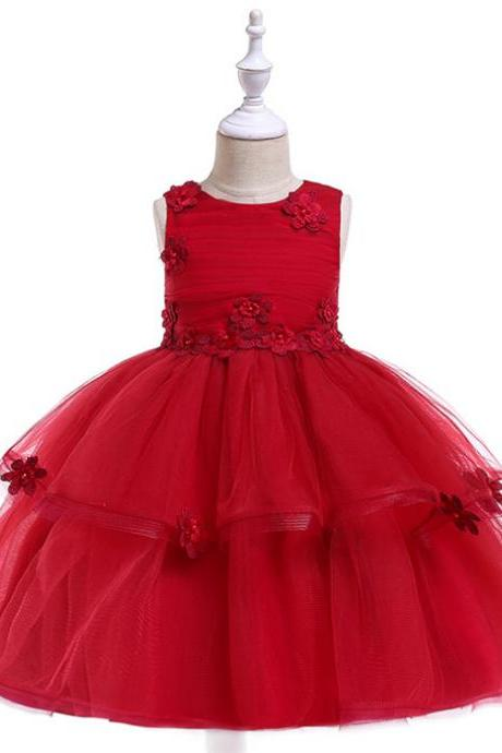 Lace Flower Girl Dress Sleeveless Wedding Formal Birthday Party Tutu Gown Children Clothes