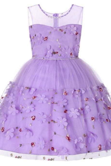 Princess Flower Girl Dress Sleeveless Floral Kids Birthday Formal Party Tutu Gown Children Clothes