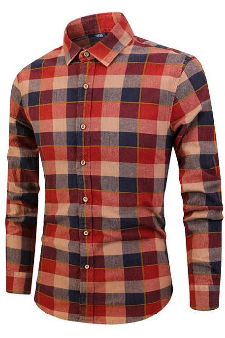Men Plaid Printed Shirt Autumn Long Sleeve Buttons Single Breasted Casual Slim Fit Shirt