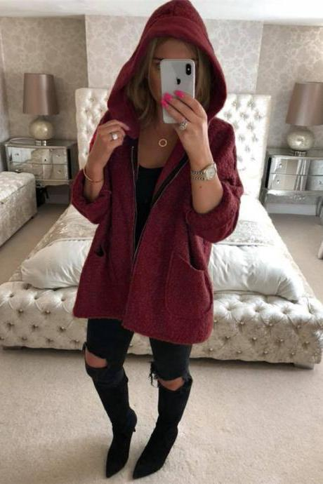 Women Plush Coat Autumn Winter Hooded Zipper Pocket Long Sleeve Warm Casual Loose Jacket Outerwear