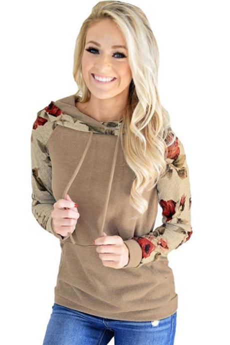 Women Hoodies Autumn Floral Printed Patchwork Long Sleeve Drawstring Hooded Casual Sweatshirt