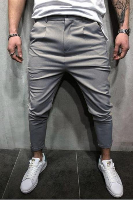 Men Harem Pants Mid Waist Streetwear Casual Ankle Length Slim Hip Hop Joggers Long Trousers