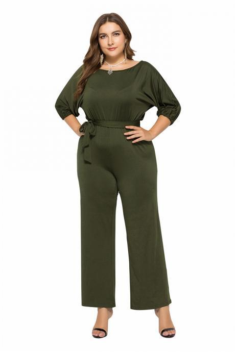 Women Jumpsuit Casual Solid Office 3/4 Sleeve Belted Streetwear Female Long Rompers Overalls