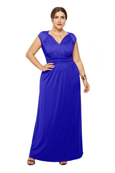 Plus Size Women Maxi Dress V Neck Sleeveless Casual Slim Long Evening Party Dress