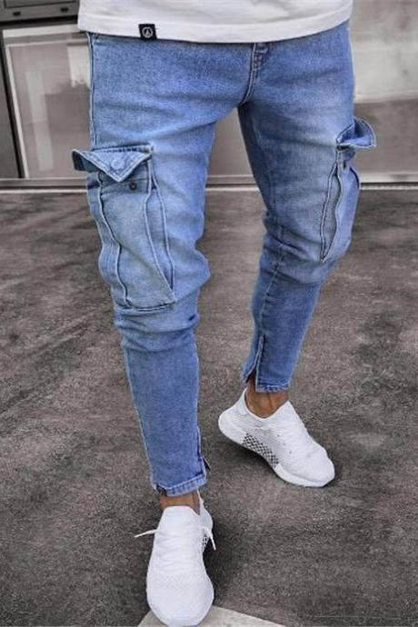 Mens Jeans Mid Waist Distressed Skinny Pocket Ripped Hole Hip hop Slim Denim Pencil Pants