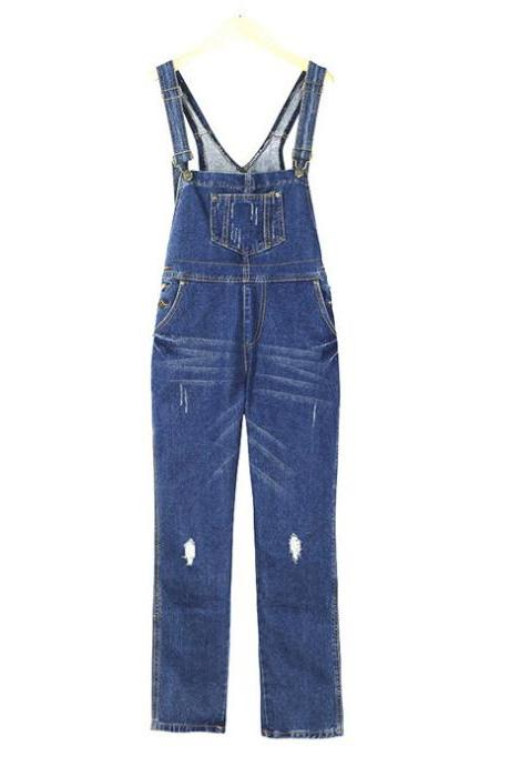 Women Denim Jumpsuit Ripped Holes Suspenders Pants Casual Loose Jeans Rompers Overalls