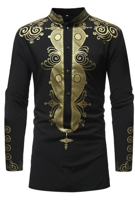 Men African Printed Shirt Stand Collar Tribal Ethnic Casual Slim Fit Long Sleeve Shirt