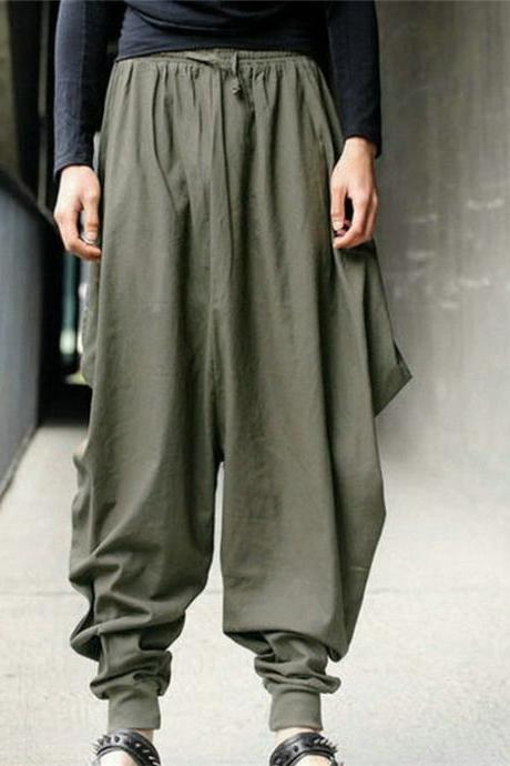 Men Harem Pants Drawstring Waist Plus Size Hip Hop Streetwear Casual Loose Baggy Trousers