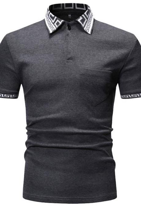 Men T Shirt Summer Short Sleeve Turn-down Collar Patchwork Casual Slim Fit T Shirt
