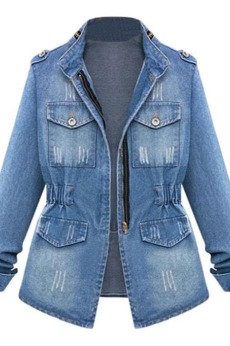 Women Denim Coat Autumn Casual Pocket Long Sleeve Slim Plus Size Jeans Jacket Outwear