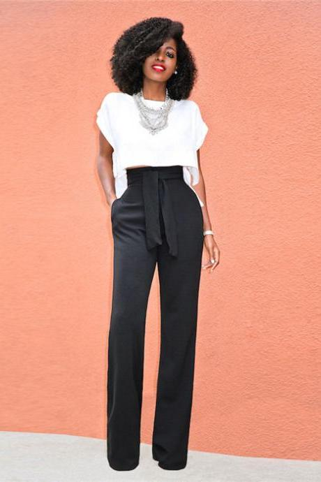Women Wide Leg Pants High Waist Belted Casual OL Work Office Long Palazzo Trousers