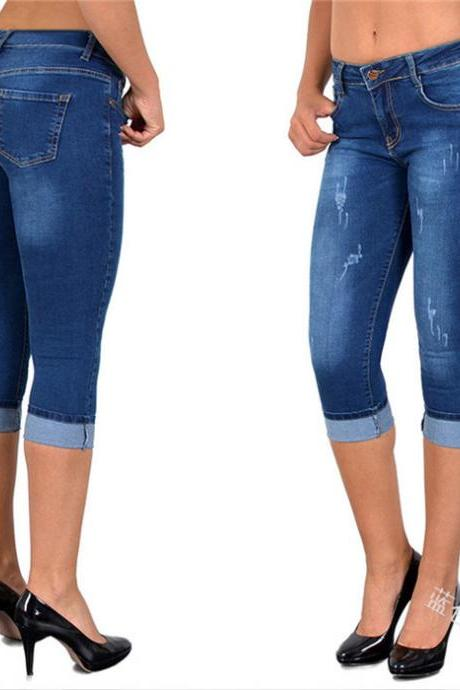 Women Jeans Summer High Waist Plus Size Slim Cropped 3/4 Trousers Stretch Skinny Denim Pencil Pants