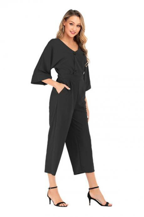 Women Wide Leg Jumpsuit Summer V-Neck Bat Half Sleeve Button Casual Loose Rompers Overalls
