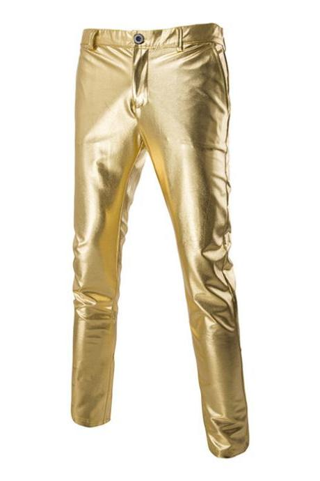 Men Long Pants Costumes Golden Performance Show Hot Stamping Casual Business Trousers