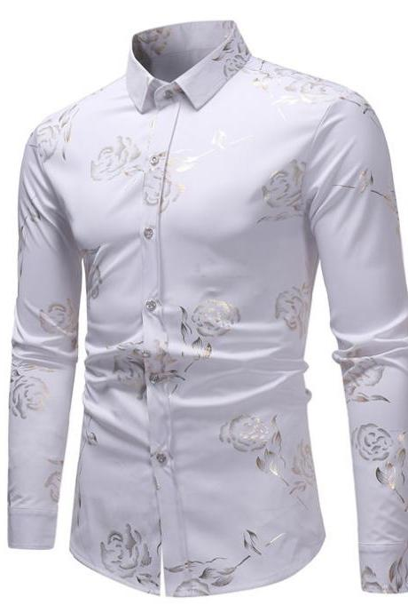 Men Rose Printed Shirt Single Breasted Long Sleeve Casual Slim Fit Male Top Shirt