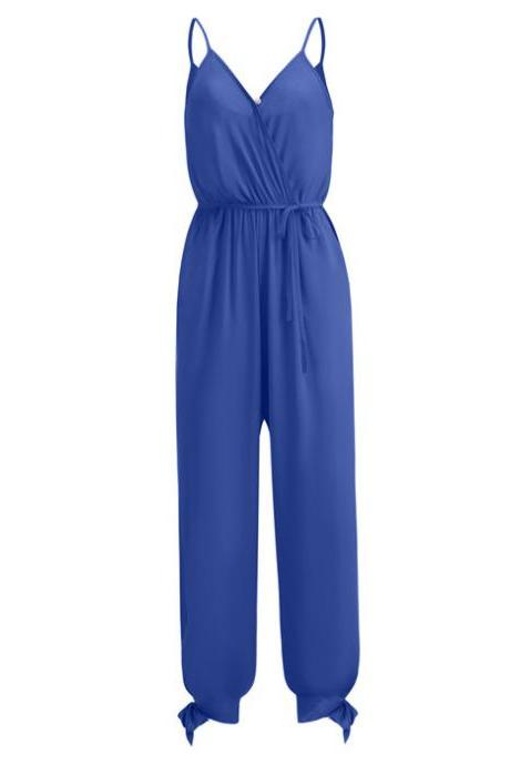 Women Jumpsuit V Neck Spaghetti Strap Sleeveless Casual Summer Long Pants Rompers