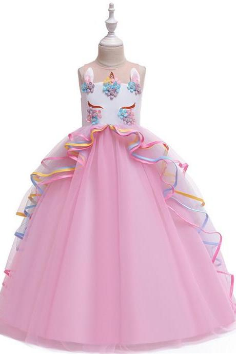 Unicorn Flower Girl Dress Rainbow Teens Long Birthday Formal Tutu Party Gown Children Kids Clothes