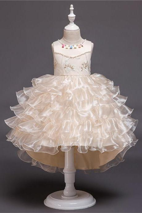 High Low Flower Girl Dress Layered Trailing Tutu Formal Birthday Party Ball Gown Kids Children Clothes