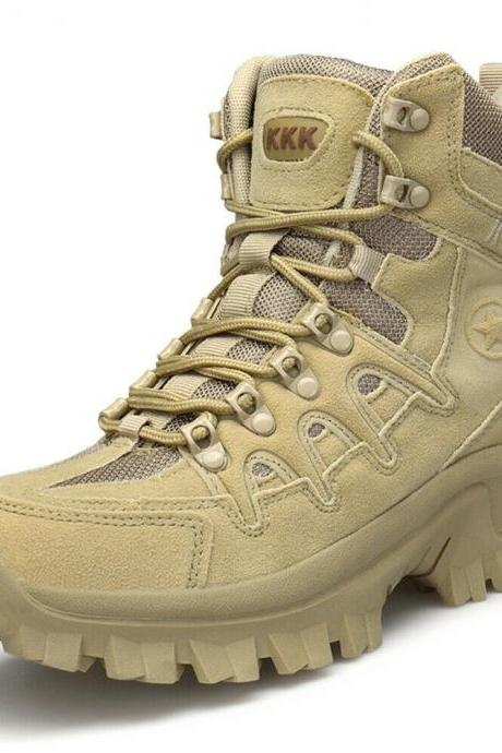Men's Zip Army Tactical Military Leather High Boots Outdoor Combat Desert Shoes