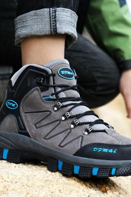 Men's Waterproof Leather Winter Hiking Boots Outdoor Sneakers Snow Warm Shoes